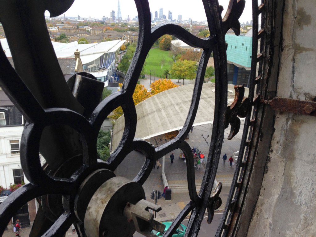 Looking out across London from inside the clock tower at 1 Rye Lane, London.