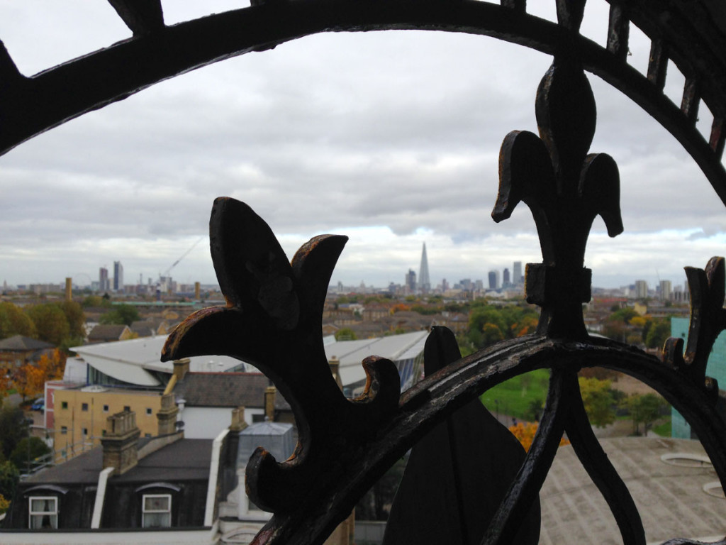 The clock tower at 1 Rye Lane has begun working again after 35 years. Here we look out from the inside across London.